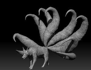 3D 9 tailed fox model