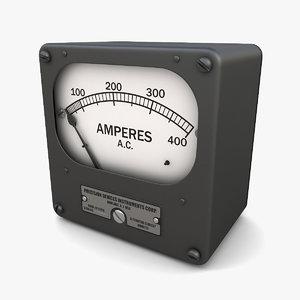 3D vintage ac ammeter 09