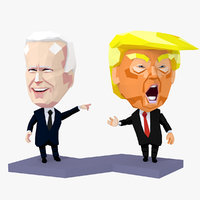 Trump vs Biden Low Poly Characters Rigged