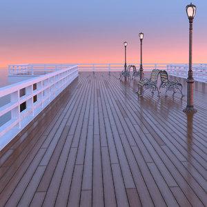 wooden pier bridge model