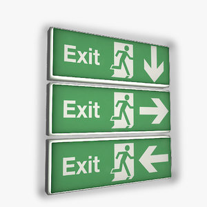 emergency exit sign wall light 3D model