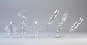 bottles liquid splash 3D model