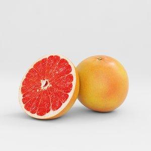 3D grapefruit fruit model