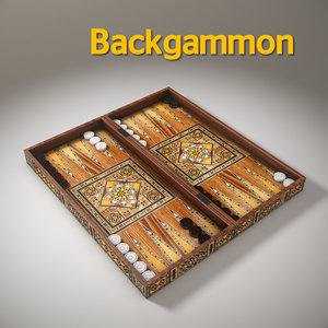 3D wood backgammon