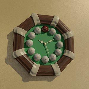 3D octagon billiard wall clock model