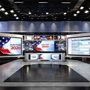virtual set news studio 3D