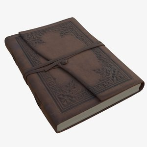 3D leather bound book model