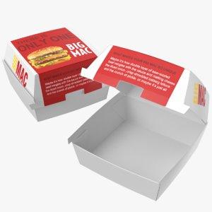 real mcdonald burger boxes 3D