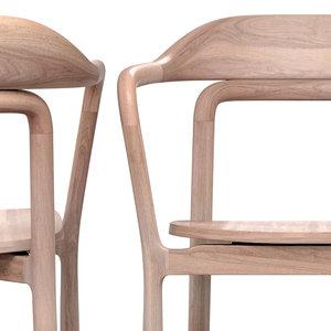 duet chair timber seat 3D model