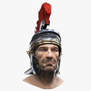 3D roman head helmet