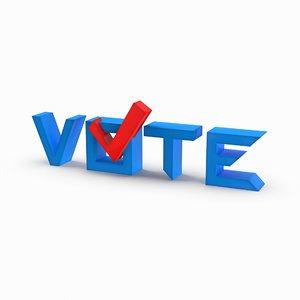 3D model vote sign