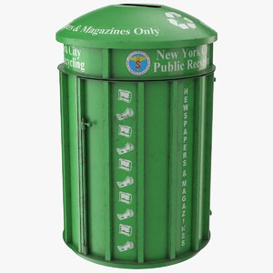 3D realistic green trash bin