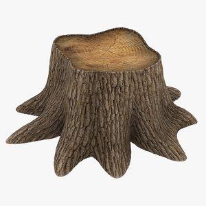 3D realistic tree stump 2