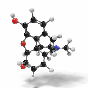 3D morphine molecule c17h19no3 modeled