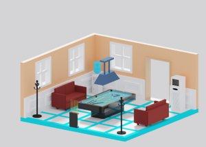 3D cartoon simple billiard room