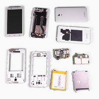 Low polygon disassembled mobile phone