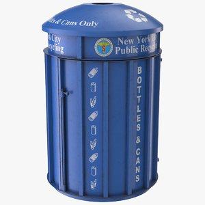 realistic blue trash bin 3D
