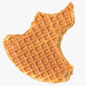 caramel waffle 01 bitten 3D