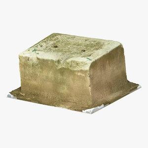 old concrete block 01 3D