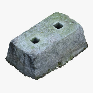 3D old concrete block 02 model