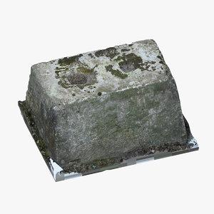 3D old concrete block 03