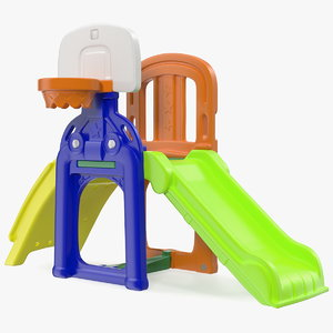 plastic kids slide basketball hoop 3D model
