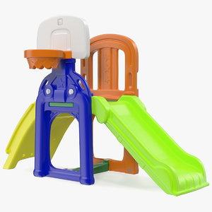 plastic kids slide basketball hoop 3D model