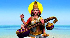 3D god saraswati colour