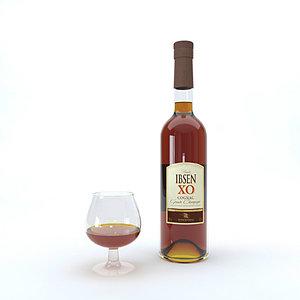3D cognac bottle
