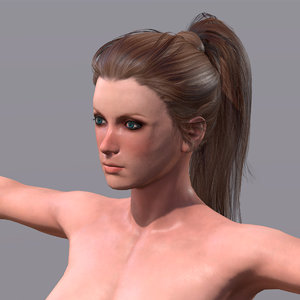 woman character rigged 3D model