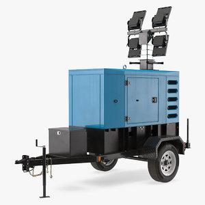 3D mobile generator lighting mast model