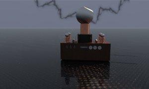 3D tesla coil sci-fi prop model