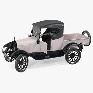 3D vintage 20s roadster pickup model