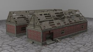 3D model old ruined building