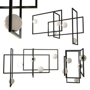 mondrian glass ceiling light 3D