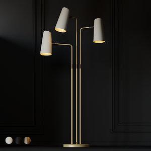 3D floor lamp cypress 3-arm model