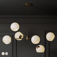 Staggeret Glass 6 Light Chandelier Milk and Clear