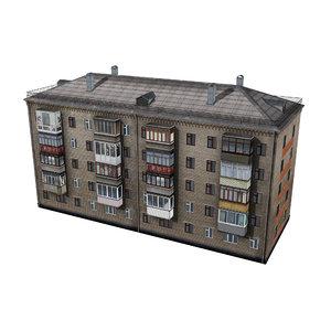 brick residential building 3D model