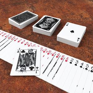 3D set poker card playing model