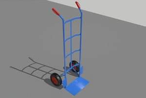 3D industrial hand trolley 1 model