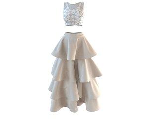 designer skirt lace 3D model