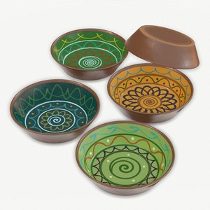 3D decorated terracotta bowl model