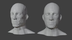 male heads low-poly 3D model