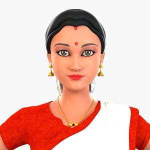 character indian saree 3D model