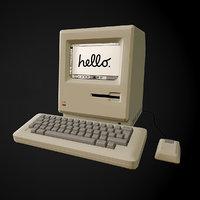 Apple Macintosh 128k retro computer Low-poly 3D model