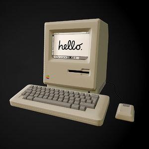 3D retro apple computer