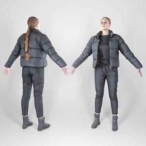 3D photogrammetry woman a-pose