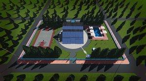 villa tesla solar glass 3D