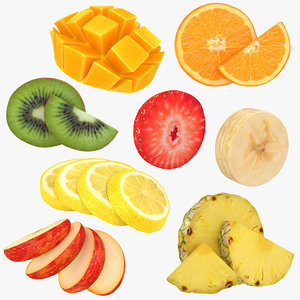 3D fruit slices 2
