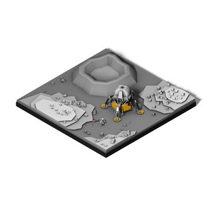 3D isometric lunar landing model